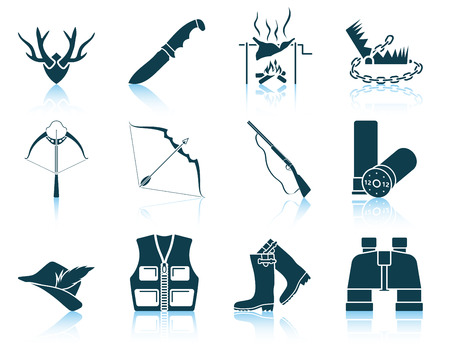 wildlife shooting: Set of hunting icons. EPS 10 vector illustration without transparency.