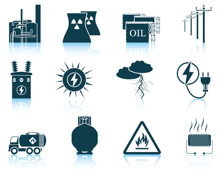 electricity pole: Set of energy icons. EPS 10 vector illustration without transparency. Illustration