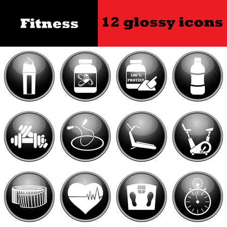 glossy icons: Set of fitness glossy icons. EPS 10 vector illustration. Illustration