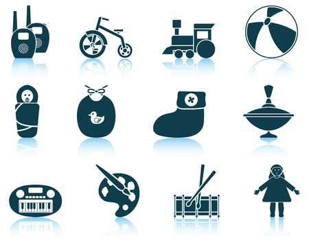 bootees: Set of baby icons. EPS 10 vector illustration without transparency.