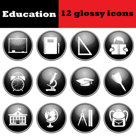 glossy icons: Set of education glossy icons. vector illustration.