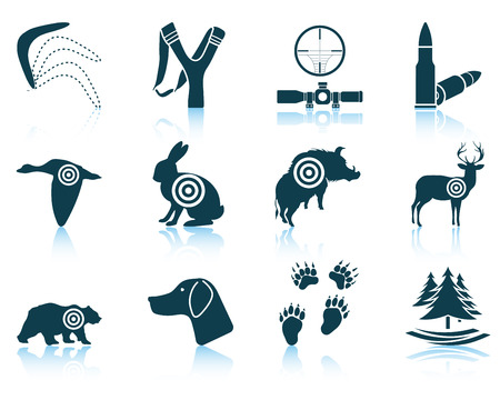 slingshot: Set of hunting icons.vector illustration without transparency. Illustration