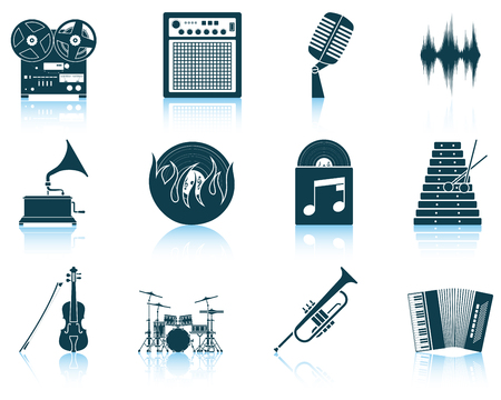 music design: Set of musical icons.  vector illustration without transparency. Illustration