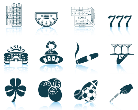 Set of gambling icons.vector illustration without transparency.
