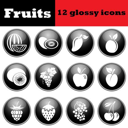 glossy icons: Set of fruit glossy icons. illustration.