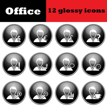 glossy icons: Set of business people glossy icons. vector illustration.