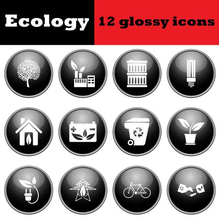 glossy icons: Set of ecological glossy icons. vector illustration.