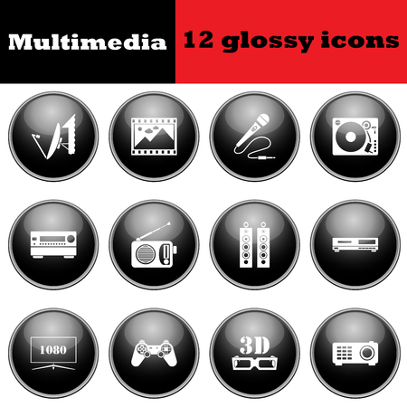 multimedia icons: Set of multimedia glossy icons. vector illustration. Illustration
