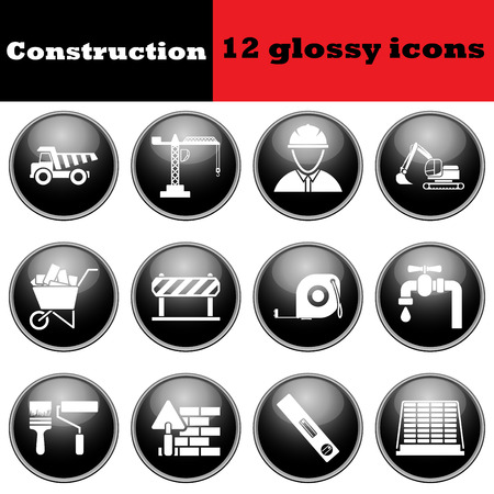 construction icons: Set of construction glossy icons. vector illustration.