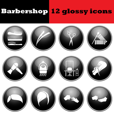 glossy icons: Set of barbershop glossy icons.