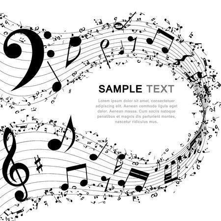 pentagrama musical: Música de fondo.  Vectores