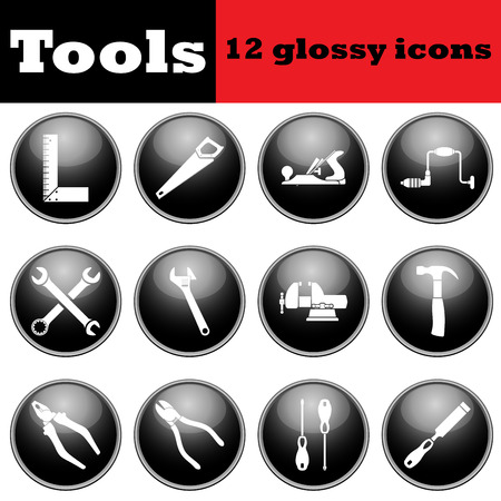 hand wrench: Set of tools glossy icons.