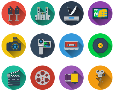 tv screen: Set of multimedia icons in flat design Illustration