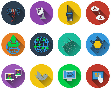 communication icons: Set of communication icons in flat design
