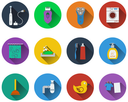 shower curtain: Set of bathroom icons in flat design