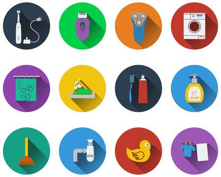 epilator: Set of bathroom icons in flat design