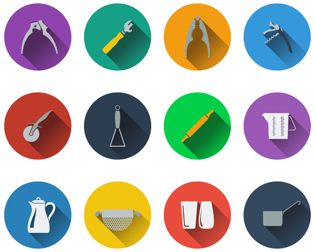 masher: Set of utensils icons in flat design Illustration