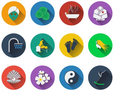 tratamiento facial: Conjunto de iconos de spa en diseño plano