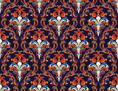 Colourfull naadloze damast sierlijke patroon