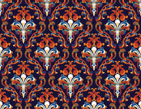 seamless damask: Colourfull  seamless damask ornate  pattern