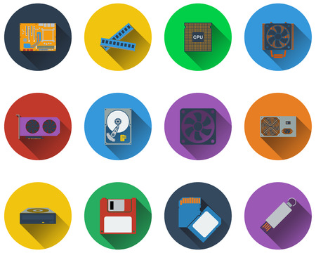 harddrive: Set of computer hardware icons in flat design