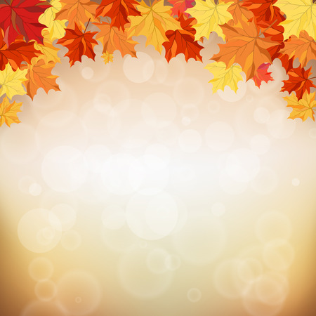 Autumn frame with maple leaves