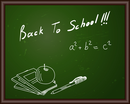 sketch drawing: Blackboard with Back to school title and sketch drawing.