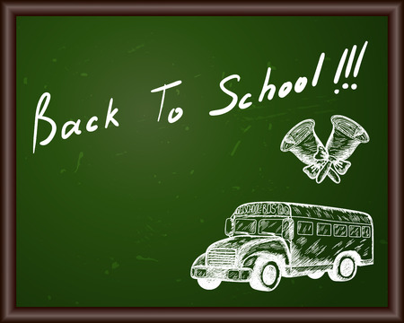 school bus: Blackboard with Back to school title and sketch drawing.