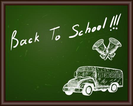 autobus escolar: Pizarra con Volver a título escolar y dibujo de bosquejo. Vectores