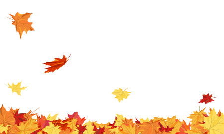 Autumn copy-space frame with maple leaves 일러스트