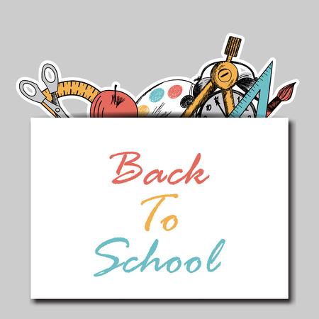 back pocket: Back to school  in flat design with pocket and education hand drawn symbols Illustration