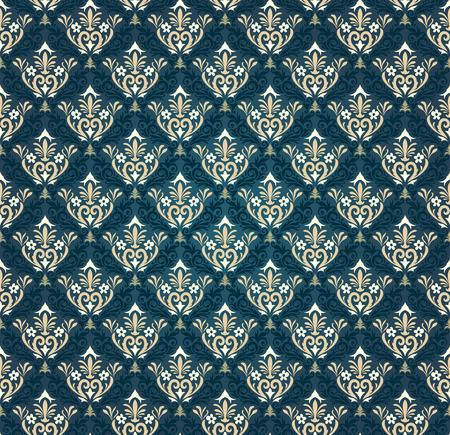 seamless damask: Colorful  seamless damask ornate  pattern