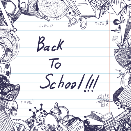 lined paper: Back to school title with sketch drawing frame on lined paper.