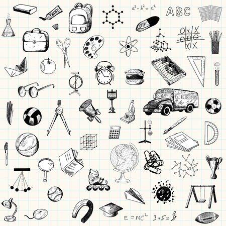 dessin: Ensemble d'ic�nes d'�ducation doodle sur feuille de papier quadrill�