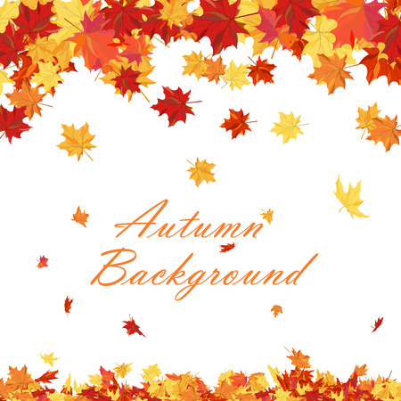 Autumn copy-space frame with maple leaves Vectores
