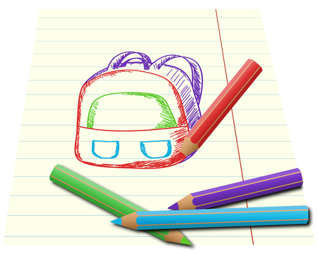 crayons: Colorful pencils drawing school backpack on lined paper