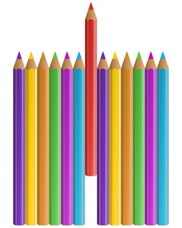 rainbow colours: Colorful pencils set on white background