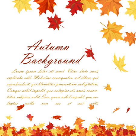 fall leaves: Autumn copy-space frame with maple leaves Illustration