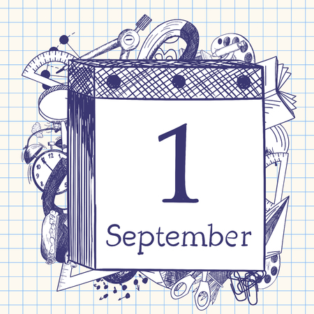 back icon: Doodle education symbols behind tear-off calendar with first September date.