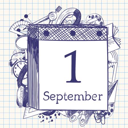 calendario escolar: S�mbolos de educaci�n Doodle detr�s calendario de corte con la primera cita septiembre.