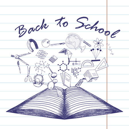 open notebook: Doodle drawn open notebook with the flying off education symbols and Back to School title. Illustration