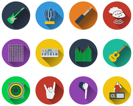 tuning fork: Set of musical icons in flat design