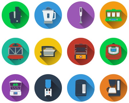 food processor: Set of kitchen equipment  icons in flat design
