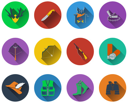 wildlife shooting: Set of hunting icons in flat design