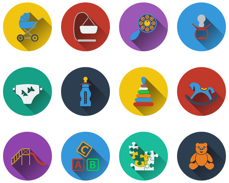 horse care: Set of baby icons in flat design Illustration