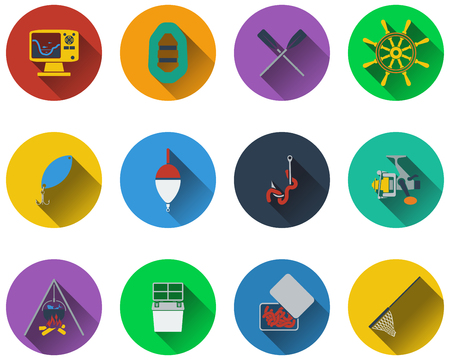 bait box: Set of fishing icons in flat design