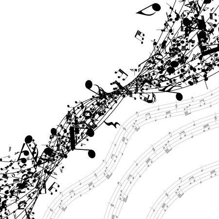 grunge music background: Musical notes in a row with copy space.