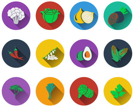 chilly: Set of vegetable icons  in flat design Illustration