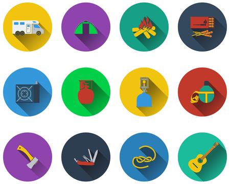 travel burner: Set of camping icons in flat design
