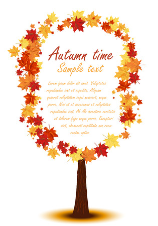 Autumn copy-space frame with maple leaves Ilustracja